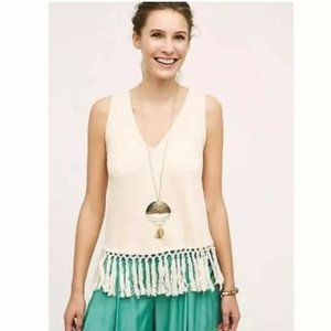 New ERI + ALI Anthro Cream Fringed Ribbed Tank Top